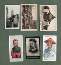 CHINA 6 very old cigarette tobacco cards Chinese images   #099
